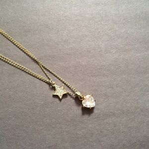Jewelry - Double Strand Gold Heart and Star Necklace